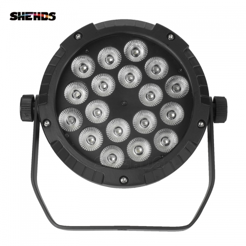 IP65 Waterproof LED Flat Par 18x12W RGBW  Lighting With DMX512 for Disco DJ Party Decoration Stage Lighting Black Body