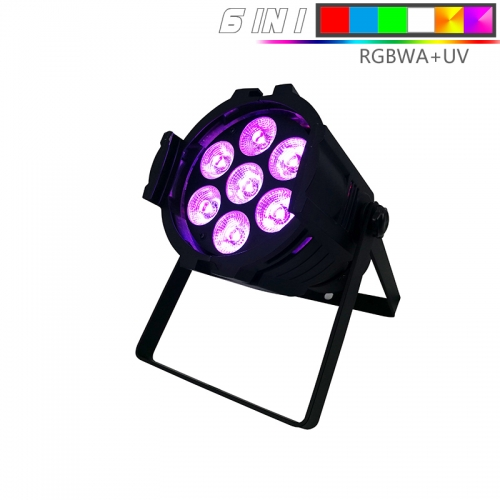 (Mini) Aluminum alloy LED Par 7x18W RGBWA+UV  Lighting With DMX512 for Disco DJ Party Decoration