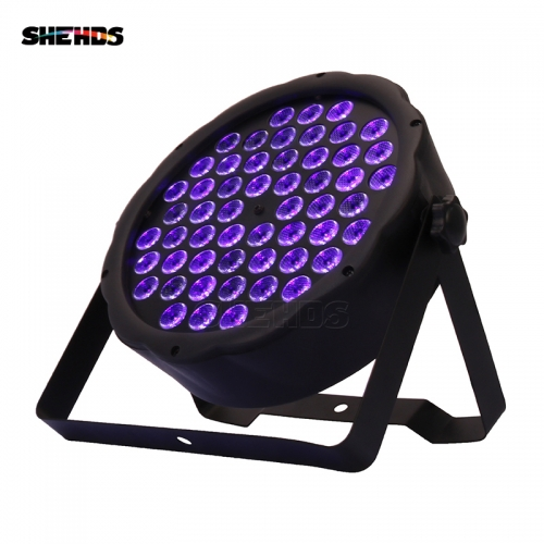 LED Flat Par 54x3W Violet Color DMX512 Stage Effect Lighting For DJ Disco Party Wedding Decoration Dance Floor Nightclub And Bar