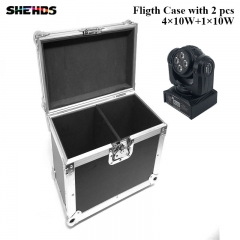 FlightCase with 2/4pcs LED Beam Wash Double Sided 4x10W+1x10W RGBW 15/21 Channel DMX 512 Rotating Moving Head Stage Lighting