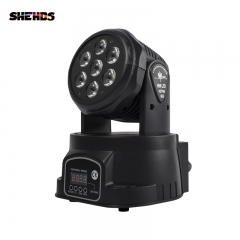 LED 7X18W Wash Light RGBWA+UV 6in1 Moving Head Professional Disco DJ Music Party Club  Stage Lighting