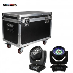 Flight Case with 2 pieces LED Beam+Wash 19x15W RGBW Zoom Moving Head Lighting for Disco KTV Party Free Fast Shipping