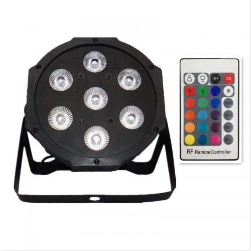 Wireless Remote Control LED Flat Par 7x18W RGBWA UV Lighting For Stages, Night Clubs, Disco, Hotels Family Birthday Party, Good for DJ etc
