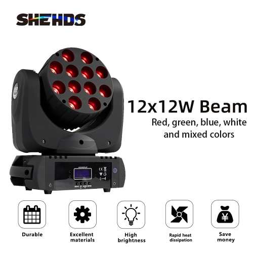 HOT! LED Beam 12x12W RGBW Moving Head  Lighting DMX512 Good for Patry DJ Disco Concert