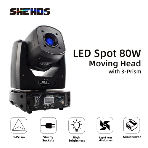 LED Spot 80W With 3-Prism Gobo Moving Head Light Party Dj Equipment Bar Light KTV Bar Stage Lighting Effect