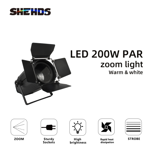 Two-tone LED 200W COB Zoom Par Warm/ Cool White Lighting LED Par Light Stage Disco Party Light DMX 512 Professional DJ Equipment