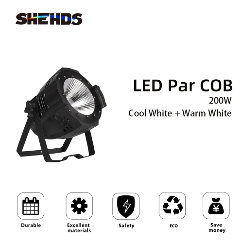 LED Par COB 200W Cool White + Warm White Theater Audience Lights Gorgeous Effect Aluminum Alloy with/without Barn Doors Lighting Free shiping