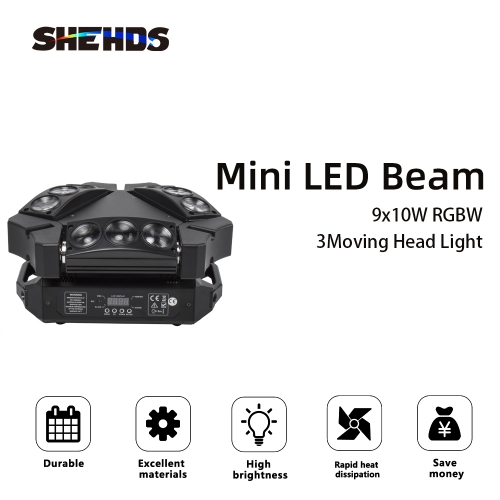 Mini LED Beam Spider 9x10W RGBW Moving Head Lighting